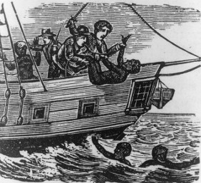 Woodcut depicting African people being thrown over board was originally published in the Liberator in 1840's