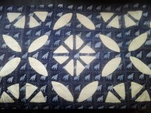 West African hand stitched & woven two tone indigo and cotton reverse applique dyed and stamped textile