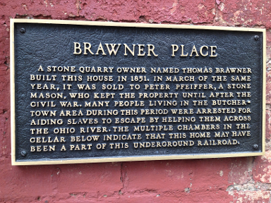 KY Brawner/Pfeiffer Home  UGRR Site Plaque