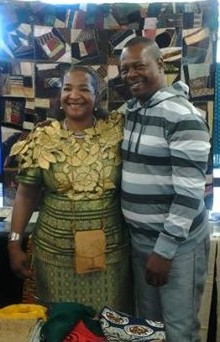 Teresa R. Kemp and her relative Paul Higgins in Covina, California Library exhibit of the UGRR Secret of the Quilts.
