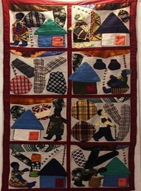 Village Life Story  Quilt from the UGRR Secret Quilt Code Museum' s African Collection