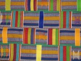One of the textiles from The Language of Kente exhibit  purchased by the UGRR Secret Quilt Code Museum African Textile Collection